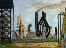 Jack Kettel: Rebuilding a Blast Furnace, 1964-5, Museums Sheffield, oil on canvas, 50.8 x 68.8