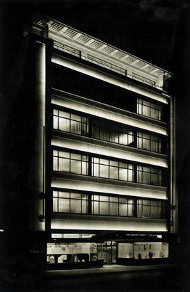 Simpson (Piccadilly) Ltd., 1936. Exterior at night. Joseph Emberton Archive, University of Brighton Design Archives.