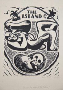 Cover design for The Island, 1931. Wood engraving on paper, 20 x 16 cm