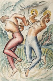 Two Musicians, c.1925. Watercolour and pencil on paper