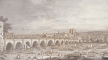 London Westminster Bridge with a procession of civic barges