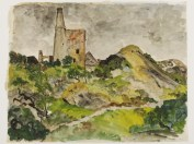 Olive Cook: Disused tin-mine, St Agnes, Cornwall, c.1940, pen and ink, watercolour and bodycolour