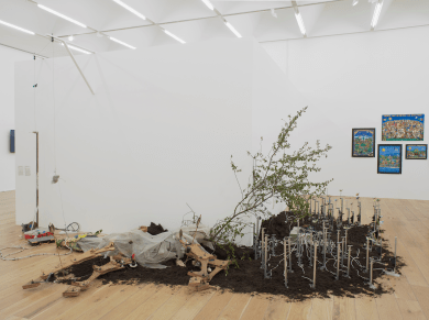 Fernando Palma Rodríguez, Techpactia tlen quipanoz ipan Milpa Alta? (Do you like what happens in Milpa Alta?), 2011 and Tocihuapapalutzin (Our revered lady butterfly), 2009. Courtesy the artist. Photo Andy Keate.