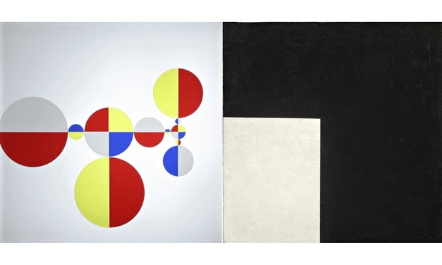 Left: Light Signs #1 (Korea) (1995) by Gabriel Orozco; right: Black and White, Suprematist Composition (1915) by Kazimir Malevich. Photograph: Marian Goodman Gallery, New York/Moderna Museet, Stockholm