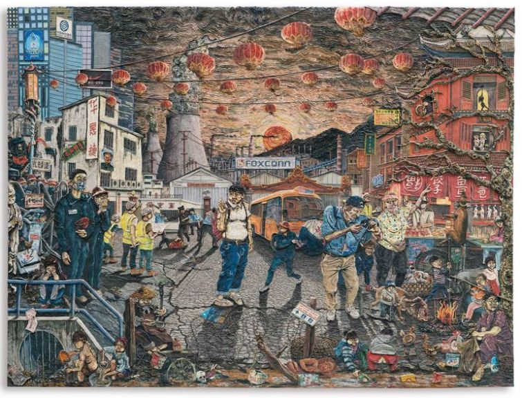 PLATE 1, LEAVING CHINA - NEW HOPE. Varnished plasticine on board, 183 by 245cm.; 72 by 96 1/2 in. 2014