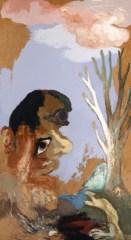 White Tree, Large Face, 1990. Acrylic on canvas, 121.9 X 68.6 cm