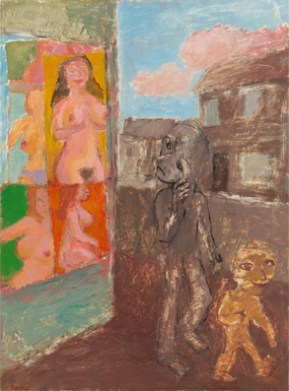 Shop on the corner, Mid 1970's, oil on board. 82 x 58 cm