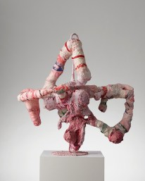 Satie moon walking, 2014. Found objects, plaster, soft cement, pulp, yarn, glue, paint, steel. 102 x 106 x 74 cm, 40 1/8 x 41 3/4 x 29 1/8 in