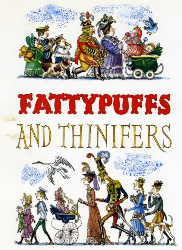 Fritz Wegner's back cover illustration for André Maurois's Fattypuffs and Thinifers