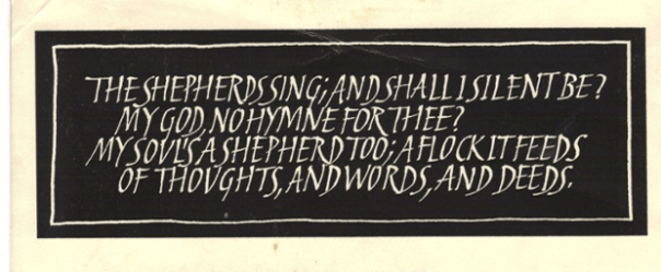 Ron Costley applied his penmanship to his Christmas cards, which took familiar quotations or poems and transformed them with elegant hand lettering