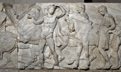 A marble relief from the north frieze of the Parthenon shows the procession of the Panathenaic festival, the commemoration of the birthday of the goddess Athena (438-432BC).