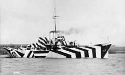 The first world war anti-submarine gunboat HMS Kildangan, pictured in its dazzle camouflage in 1918. Photograph: IWM/Getty Images Facebook Twitter Pinterest