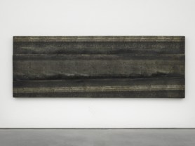White sky, overcast, 2014. Wood, rubber and tar. Photo: Ben Westoby
