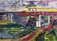 The Beginning of the Advance, France: German Bridge Demolition, 1944. Oil on panel, 55.8 x 75.8 cm. IWM (Imperial War Museums)