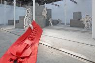 Jesmonite. steel, latex, polyurethane foam, hessian, foam rubber, cement, sand and polystyrene