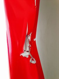 Detail of Angela de la Cruz's Battered 4 (Red), 2012. Photo: Beccy Kennedy