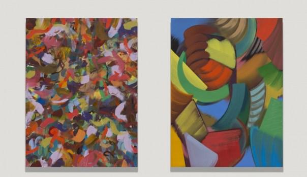 Blink (Eyes Closed, Eyes Open), 2015. Oil on linen, each 24 x 18 inch / 61 x 45.7 cm