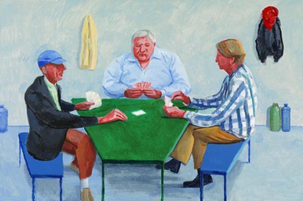 Card Players #1 (2014). Acrylic on canvas, 122 x 183 cm