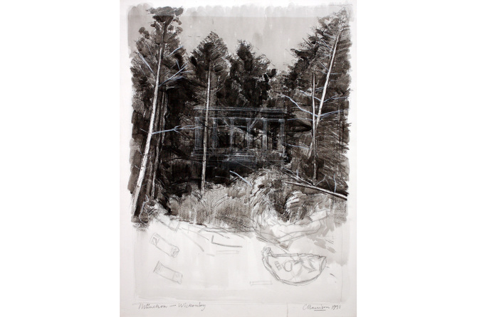Colin Harrison, München - Wickenby, 1991, mixed media on paper, 76 x 57 cm