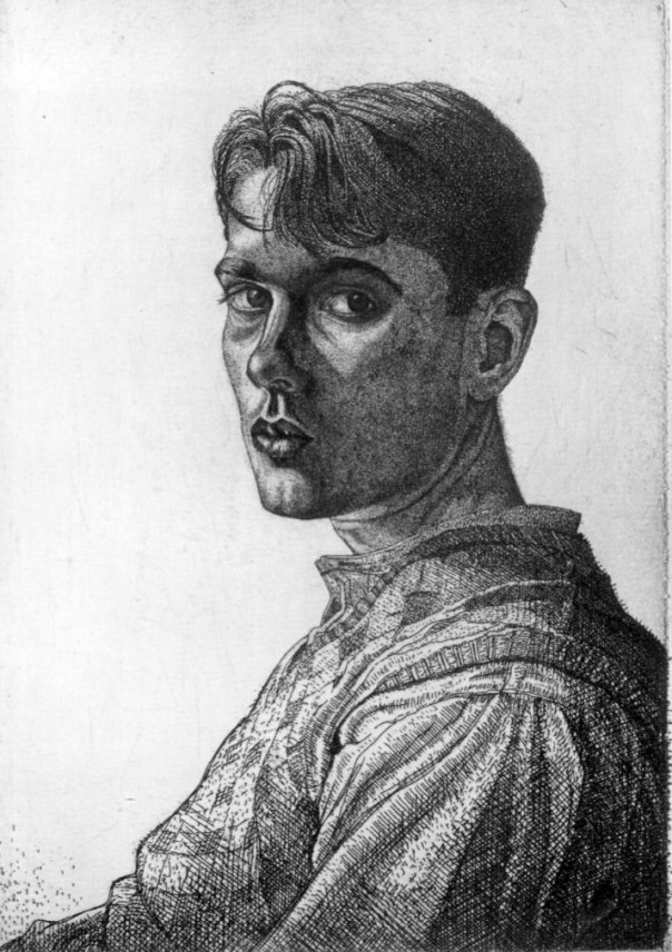 Selfportrait, etching, 1932, 8 3/4 in. x 6 1/4 in. (223 mm x 159 mm) Given to the National Portrait Gallery, London, by Jennifer Holloway, 2010