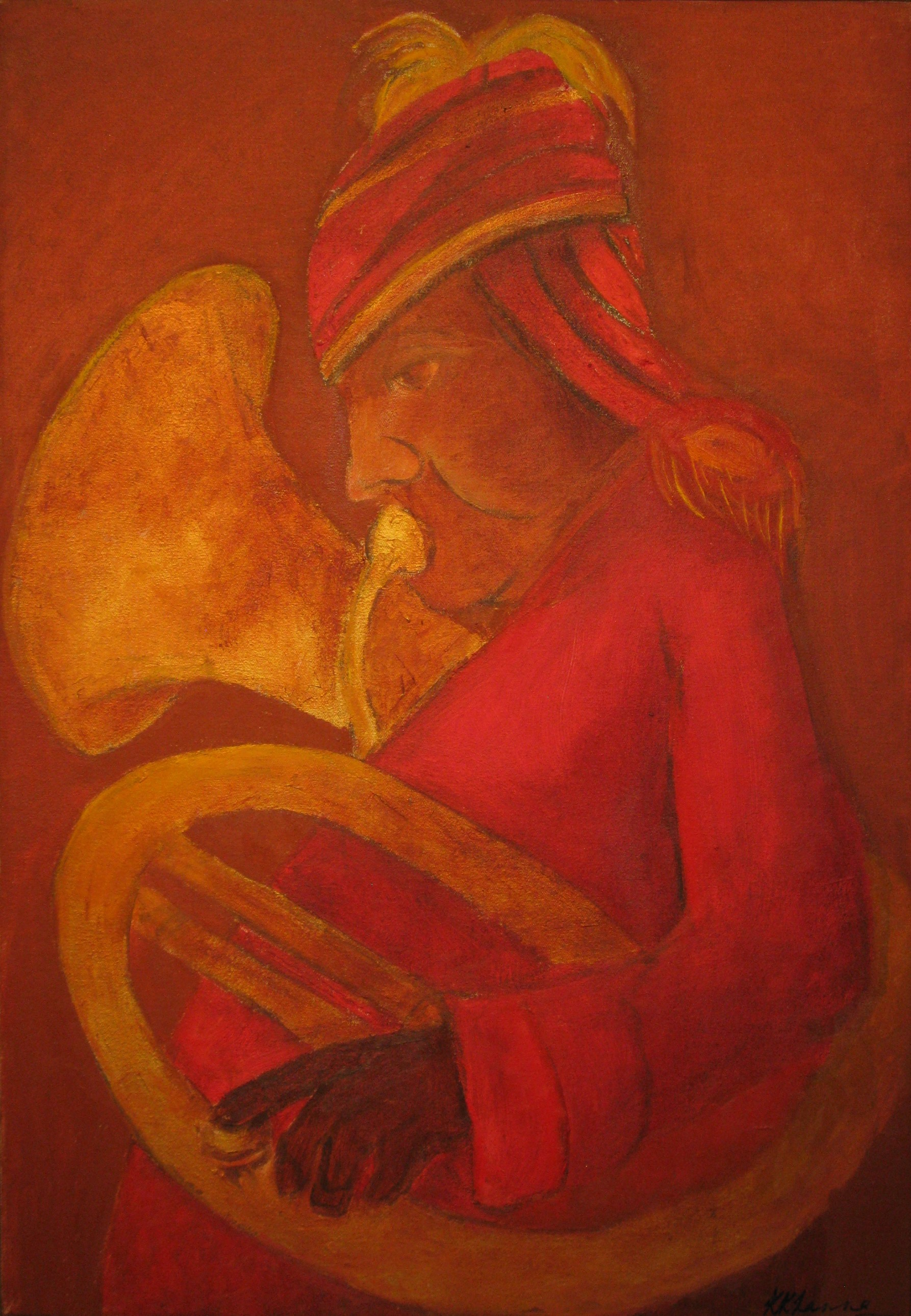 Untitled (Bandwalla with Trumpet), 2015. Oil on canvas, 60.9 x 38.1 cm. (24 x 15 in.)