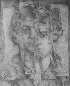 Selfportrait. Pencil on paper. 66x56cm, 1972