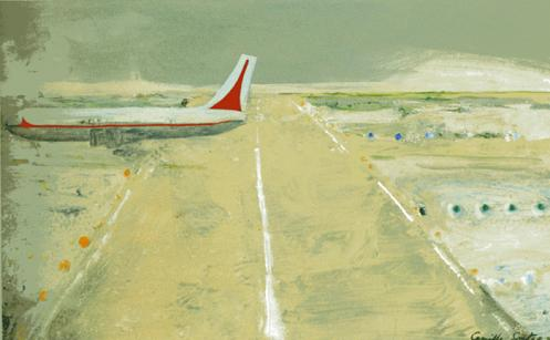 Camille Souter, Shannon Series Painting, 1980, Oil on paper, 44 x 74 cm, Collection Irish Museum of Modern Art, Purchase, 2007