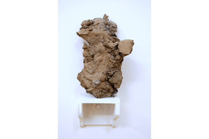 Untitled No.8, 2015, cement, stone + timber shelf, 32 x 15 x 12 cm
