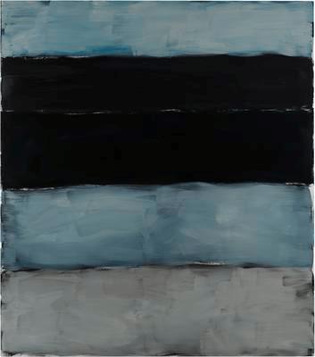 Landline Black Blue, 2014. Oil on aluminium, 215.9 x 190.5 cm, 85 x 75 in