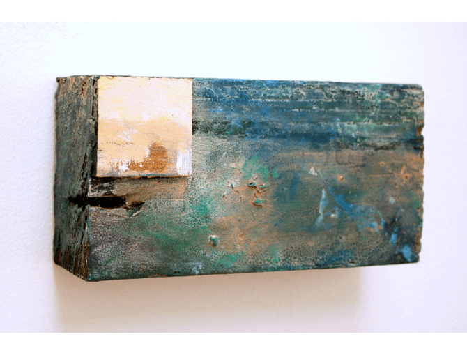 Landscape No.4, 2013, mixed media on found timber, 7.5 x 15 x 4.75 cm