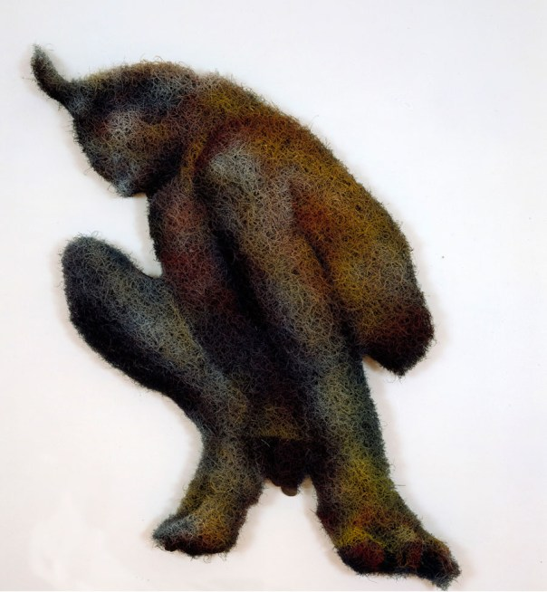 RICHARD ARTSCHWAGER: Satyr, 2001. Acrylic, rubberized hair and masonite, 57 × 32 × 2 1/2 inches (144.8 × 81.3 × 6.4 cm)