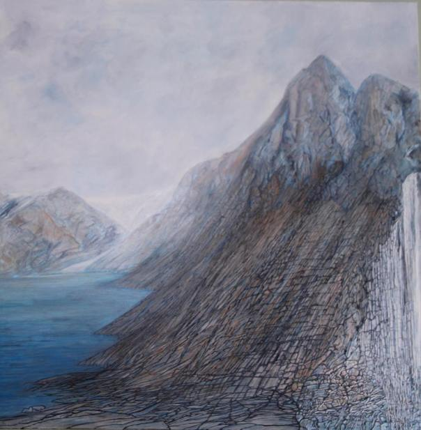 East Fjords, oil on canvas 2014, 1 x 1m