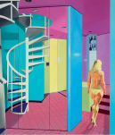 MIRRORED OPTICAL STAIRCASE AND WOMAN, 1983, oil on canvas, 247 × 213.3 cm