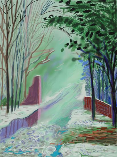 The Arrival of Spring in Woldgate, East Yorkshire in 2011. 3 January 2011. iPad drawing printed on paper, edition of 25, 139.7 x 105.4