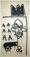 JEAN-MICHEL BASQUIAT: Untitled, 1981. Aerosol paint, pencil, felt-tip pen, acrylic, and enamel paint on panel, 50 1/2 × 29 inches (128.3 × 73.7 cm)