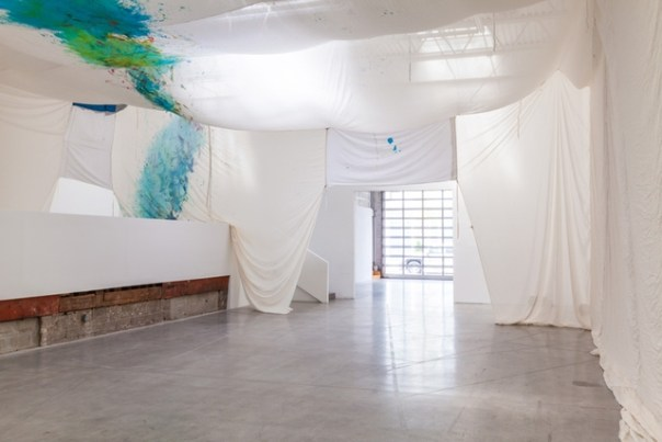 Milchstrassengrotte (2013). Ink on cotton, bed sheet, ribbon, ink on crate, Raku ceramic, daylight. Swiss Institute, New York