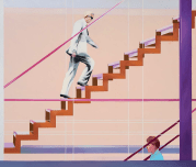 DIAGONAL STAIRCASE, 1983 -1985, oil on canvas, 175.5 × 205.7 cm