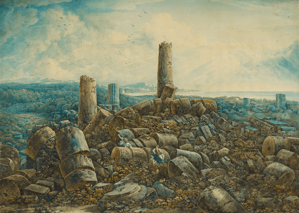 George Augustus Wallis, The Ruins of Selinunte, c. 1792, pen and brown ink and watercolour and bodycolour over unfinished etched outline