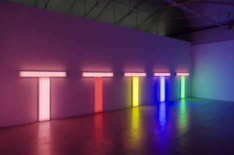 Dan Flavin: Untitled (to Don Judd, colorist), 1–5 1987. Pink, red, yellow, blue and green fluorescent light. Five parts, each: 122 x 122 x 15 cm