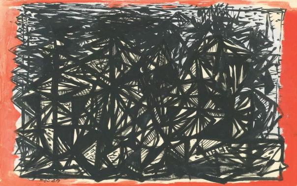 Drawing – Black on Red No.1, 1949. Ink and gouache on paper, 30.5 × 48 cm