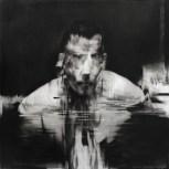 "Film Lake. Charcoal on paper, 36"" x 36"" (91cm x 91cm), 2015."
