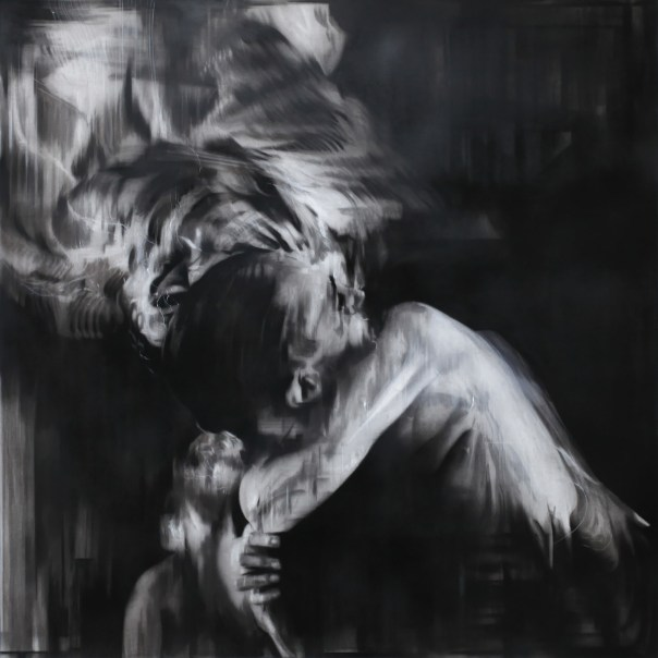 "Cabaret Aftermath. Charcoal on paper, 36"" x 36"" (91cm x 91cm), 2015"