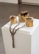 Chloe Wise, Matzochism Cuff Set, 2015, oil paint, urethane, hardware & fur, dimensions variable