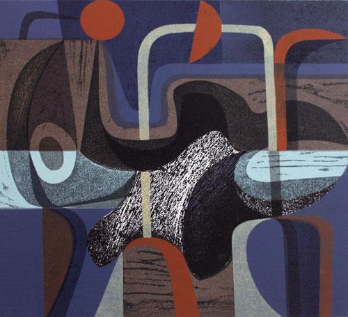 Riverland Dream, 7/10, 2014. Woodcut and stencil, 30cm x 33cm