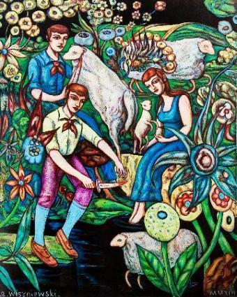 Sacrificial Lambs. Oil on canvas, 151cm x 121cm