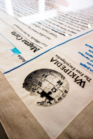 Wallpaper: This recreation of the Wikipedia logo was stitched by Janika Mägi of the embroidery institution Hand & Lock. Photography: Tony Antoniou