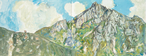View towards Cir Mohr, Glen Rosa, Arran, 2001, acrylic and compressed charcoal