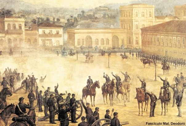 Proclamation of the Republic, oil on canvas, 1893, by Benedito Calixto. (The proclamation took place on 15 November 1889 in the Campo de Sant'Anna, currently the Praça da Republica).
