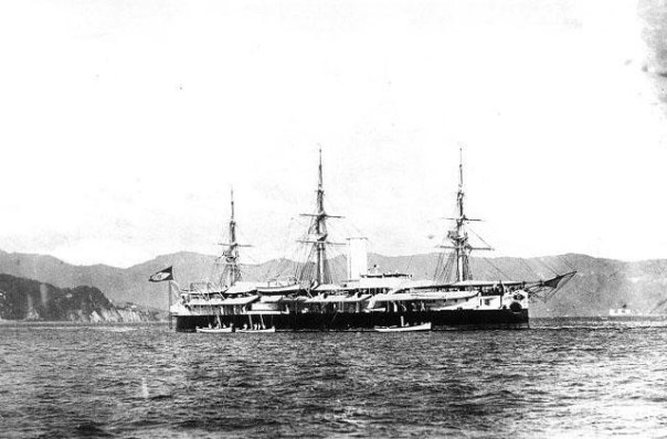 The battleship Aquidabã prior to 1898 (Photo from the archives of the Brazilian Navy)