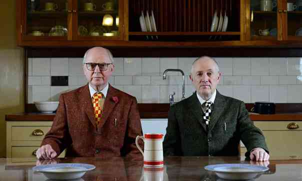 "Photo: Christian Sinibaldi for the Guardian, 19 May 2015. ""t home with Gilbert & George: It has to be immaculate in order for us to make all these unpleasant pictures'"